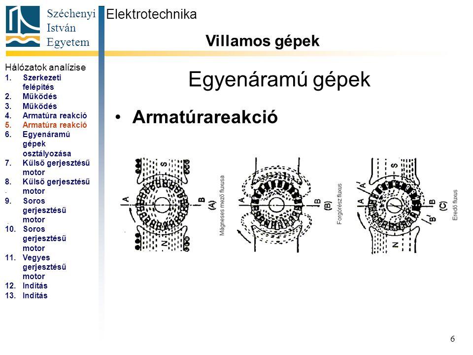Széchenyi István Egyetem 7 Egyenáramú gépek Egyenáramú gépek osztályozása Elektrotechnika Villamos gépek...