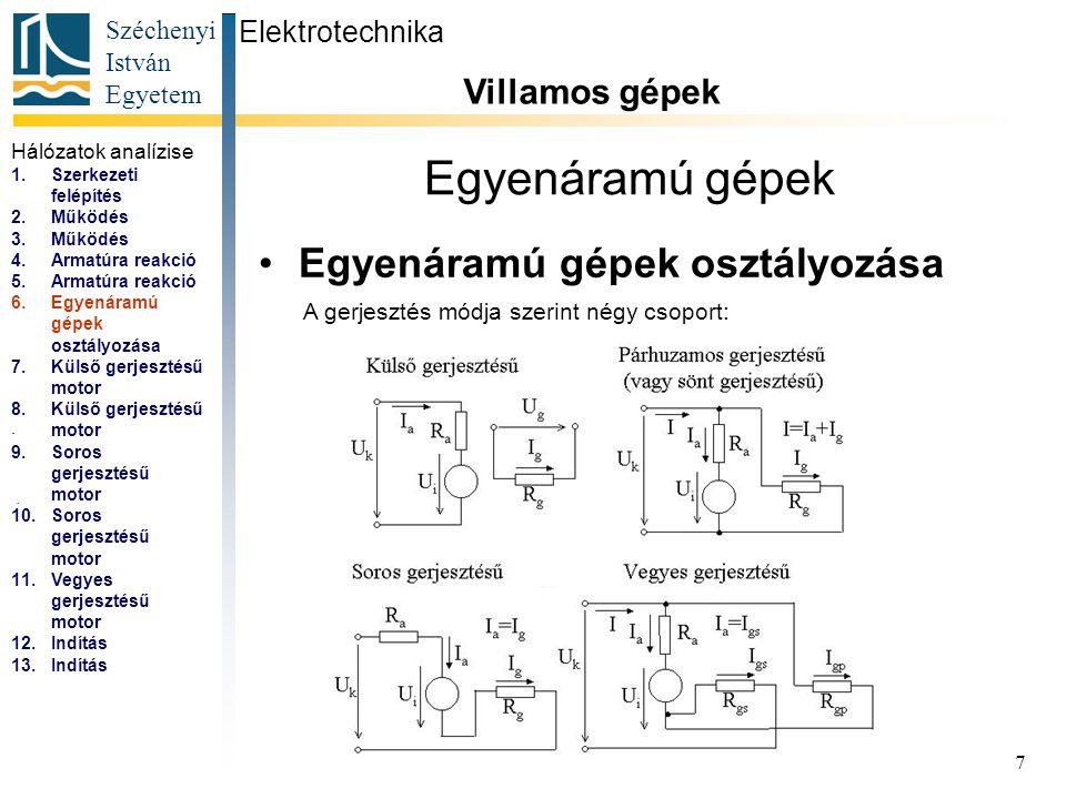 Széchenyi István Egyetem 8 Egyenáramú gépek Külső gerjesztésű motor (párhuzamos is) Elektrotechnika Villamos gépek...