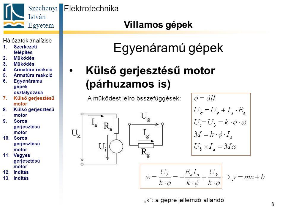 Széchenyi István Egyetem 9 Egyenáramú gépek Külső gerjesztésű motor (párhuzamos is) Elektrotechnika Villamos gépek...