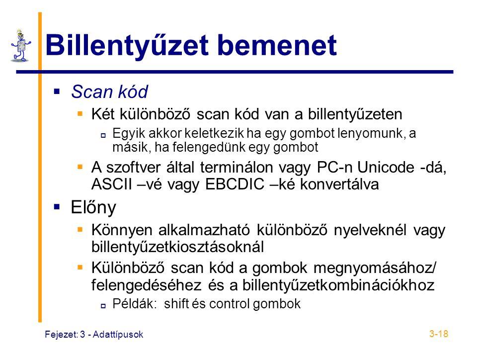 Fejezet: 3 - Adattípusok 3-18 Billentyűzet bemenet  Scan kód  Két különböző scan kód van a billentyűzeten  Egyik akkor keletkezik ha egy gombot lenyomunk, a másik, ha felengedünk egy gombot  A szoftver által terminálon vagy PC-n Unicode -dá, ASCII –vé vagy EBCDIC –ké konvertálva  Előny  Könnyen alkalmazható különböző nyelveknél vagy billentyűzetkiosztásoknál  Különböző scan kód a gombok megnyomásához/ felengedéséhez és a billentyűzetkombinációkhoz  Példák: shift és control gombok