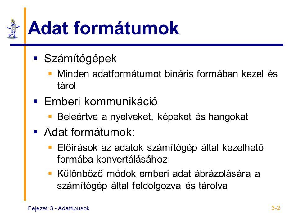 Fejezet: 3 - Adattípusok 3-2 Adat formátumok  Számítógépek  Minden adatformátumot bináris formában kezel és tárol  Emberi kommunikáció  Beleértve a nyelveket, képeket és hangokat  Adat formátumok:  Előírások az adatok számítógép által kezelhető formába konvertálásához  Különböző módok emberi adat ábrázolására a számítógép által feldolgozva és tárolva