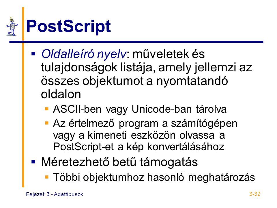 Fejezet: 3 - Adattípusok 3-32 PostScript  Oldalleíró nyelv: műveletek és tulajdonságok listája, amely jellemzi az összes objektumot a nyomtatandó oldalon  ASCII-ben vagy Unicode-ban tárolva  Az értelmező program a számítógépen vagy a kimeneti eszközön olvassa a PostScript-et a kép konvertálásához  Méretezhető betű támogatás  Többi objektumhoz hasonló meghatározás