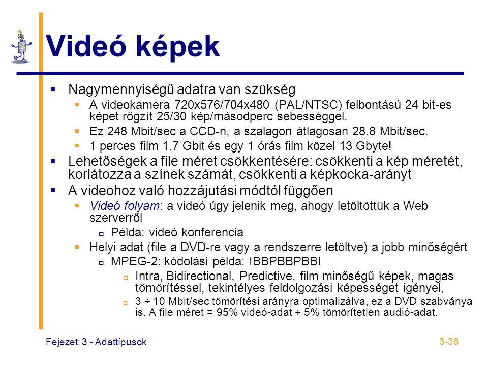 Fejezet: 3 - Adattípusok 3-36 Videó képek  Nagymennyiségű adatra van szükség  A videokamera 720x576/704x480 (PAL/NTSC) felbontású 24 bit-es képet rögzít 25/30 kép/másodperc sebességgel.