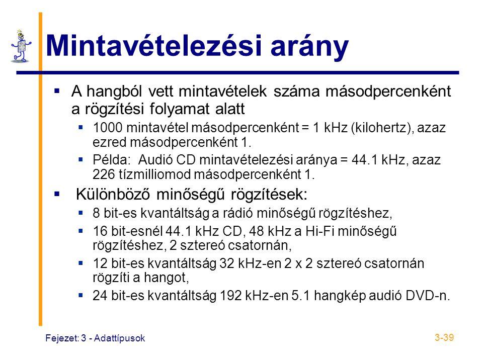 Fejezet: 3 - Adattípusok 3-39 Mintavételezési arány  A hangból vett mintavételek száma másodpercenként a rögzítési folyamat alatt  1000 mintavétel másodpercenként = 1 kHz (kilohertz), azaz ezred másodpercenként 1.