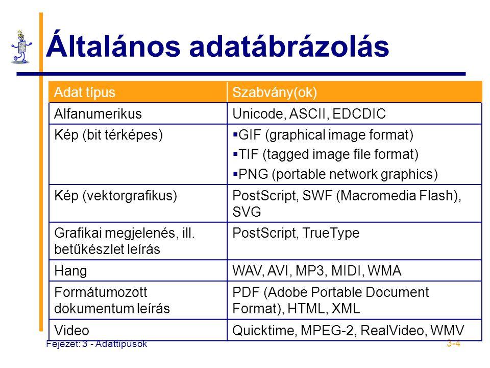 Fejezet: 3 - Adattípusok 3-4 Általános adatábrázolás Adat típusSzabvány(ok) AlfanumerikusUnicode, ASCII, EDCDIC Kép (bit térképes)  GIF (graphical image format)  TIF (tagged image file format)  PNG (portable network graphics) Kép (vektorgrafikus)PostScript, SWF (Macromedia Flash), SVG Grafikai megjelenés, ill.