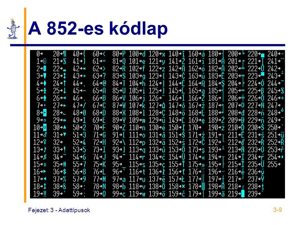 Fejezet: 3 - Adattípusok 3-9 A 852-es kódlap