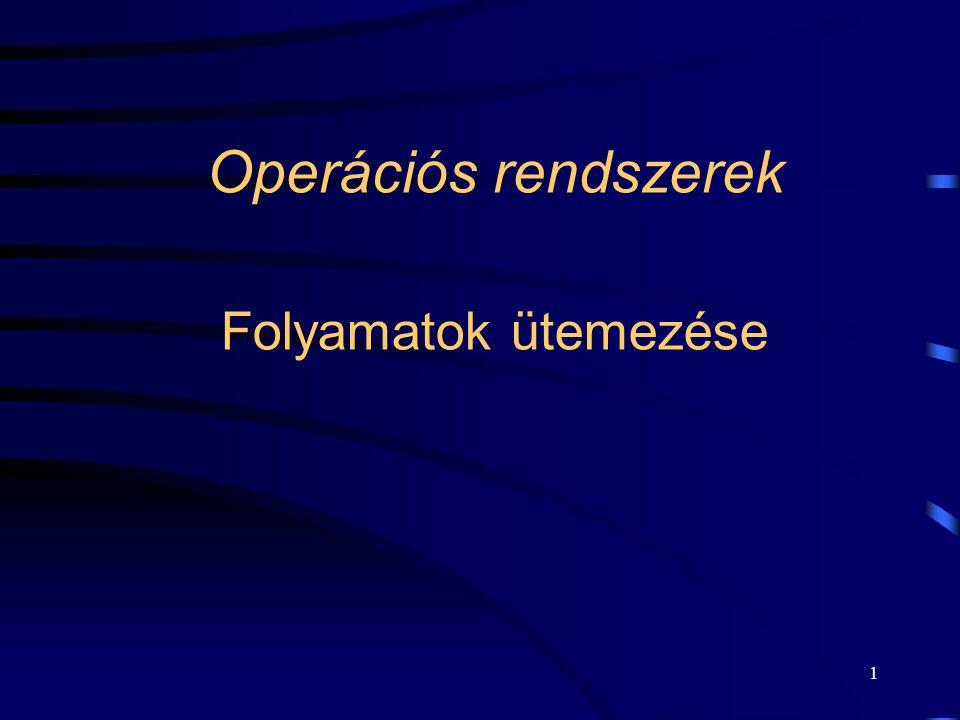 1 Operációs rendszerek Folyamatok ütemezése