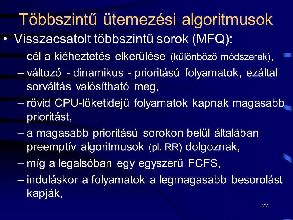 22 Többszintű ütemezési algoritmusok Visszacsatolt többszintű sorok (MFQ): –cél a kiéheztetés elkerülése (különböző módszerek), –változó - dinamikus - prioritású folyamatok, ezáltal sorváltás valósítható meg, –rövid CPU-löketidejű folyamatok kapnak magasabb prioritást, –a magasabb prioritású sorokon belül általában preemptív algoritmusok (pl.