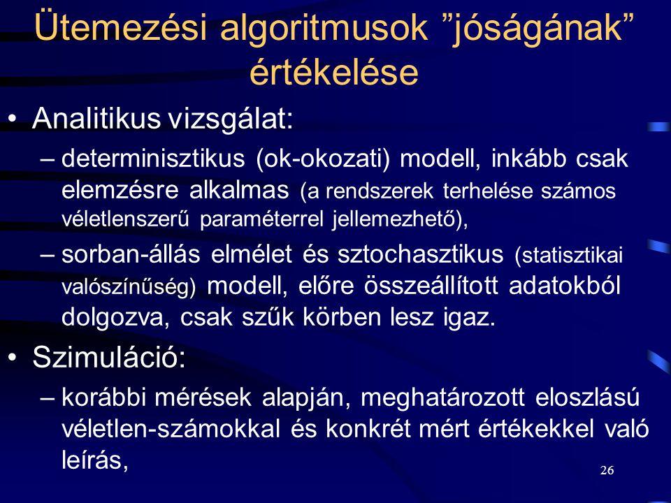 26 Ütemezési algoritmusok jóságának értékelése Analitikus vizsgálat: –determinisztikus (ok-okozati) modell, inkább csak elemzésre alkalmas (a rendszerek terhelése számos véletlenszerű paraméterrel jellemezhető), –sorban-állás elmélet és sztochasztikus (statisztikai valószínűség) modell, előre összeállított adatokból dolgozva, csak szűk körben lesz igaz.