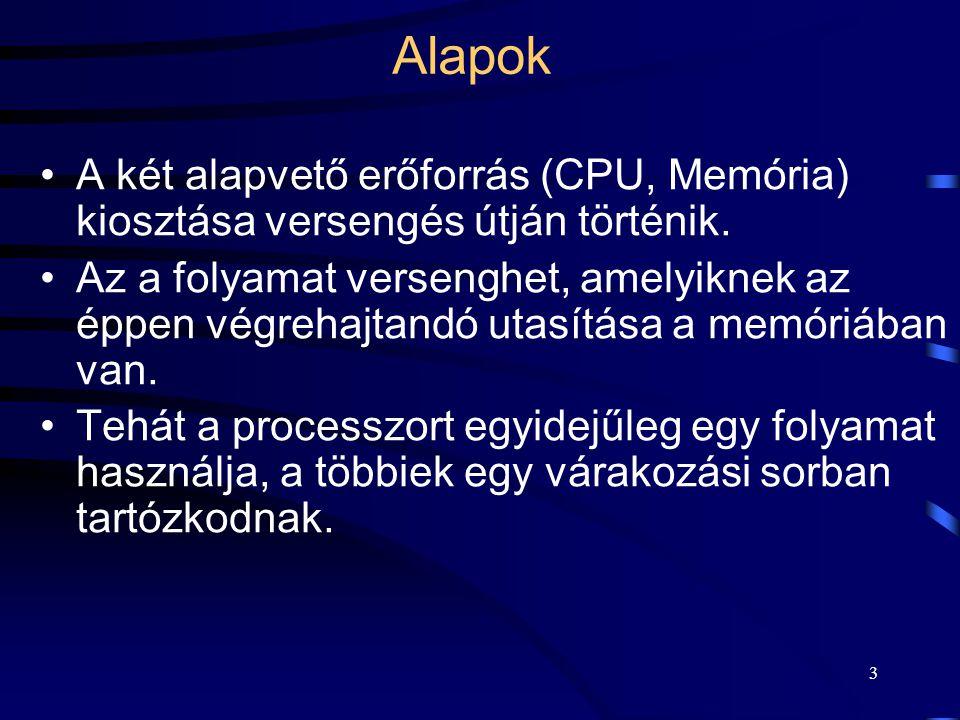 3 Alapok A két alapvető erőforrás (CPU, Memória) kiosztása versengés útján történik.