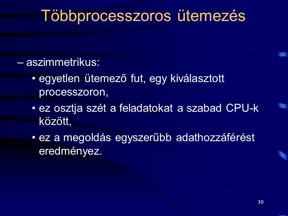 30 Többprocesszoros ütemezés –aszimmetrikus: egyetlen ütemező fut, egy kiválasztott processzoron, ez osztja szét a feladatokat a szabad CPU-k között, ez a megoldás egyszerűbb adathozzáférést eredményez.