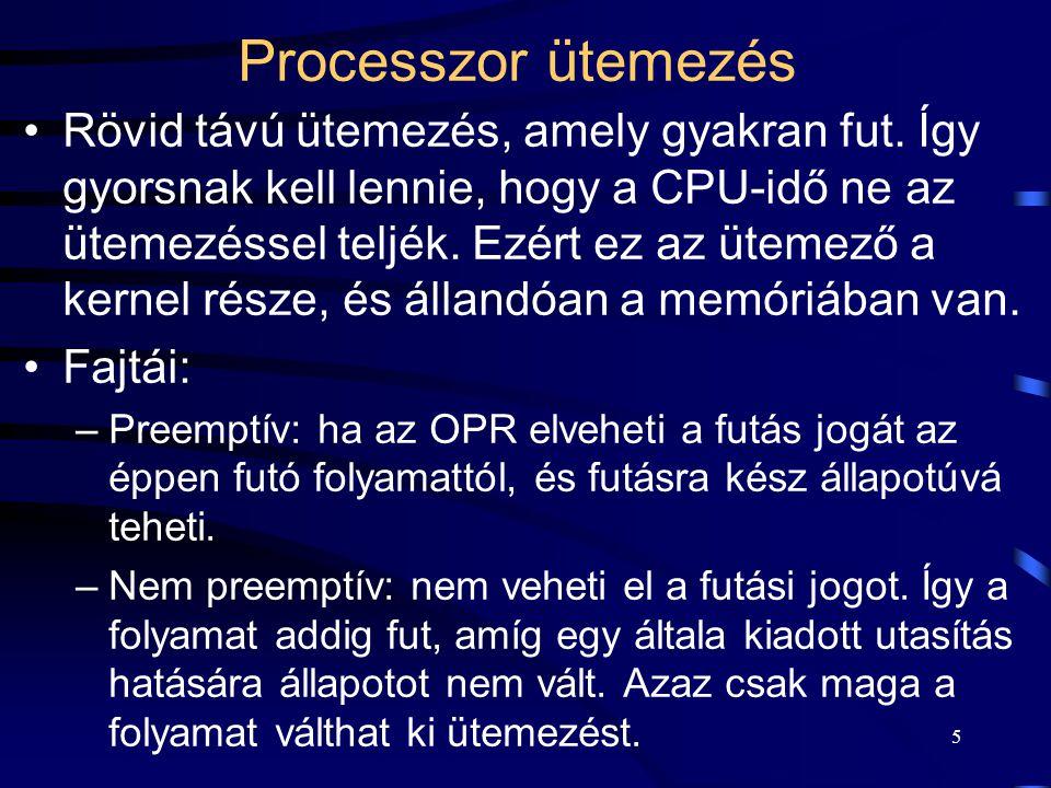 5 Processzor ütemezés Rövid távú ütemezés, amely gyakran fut.