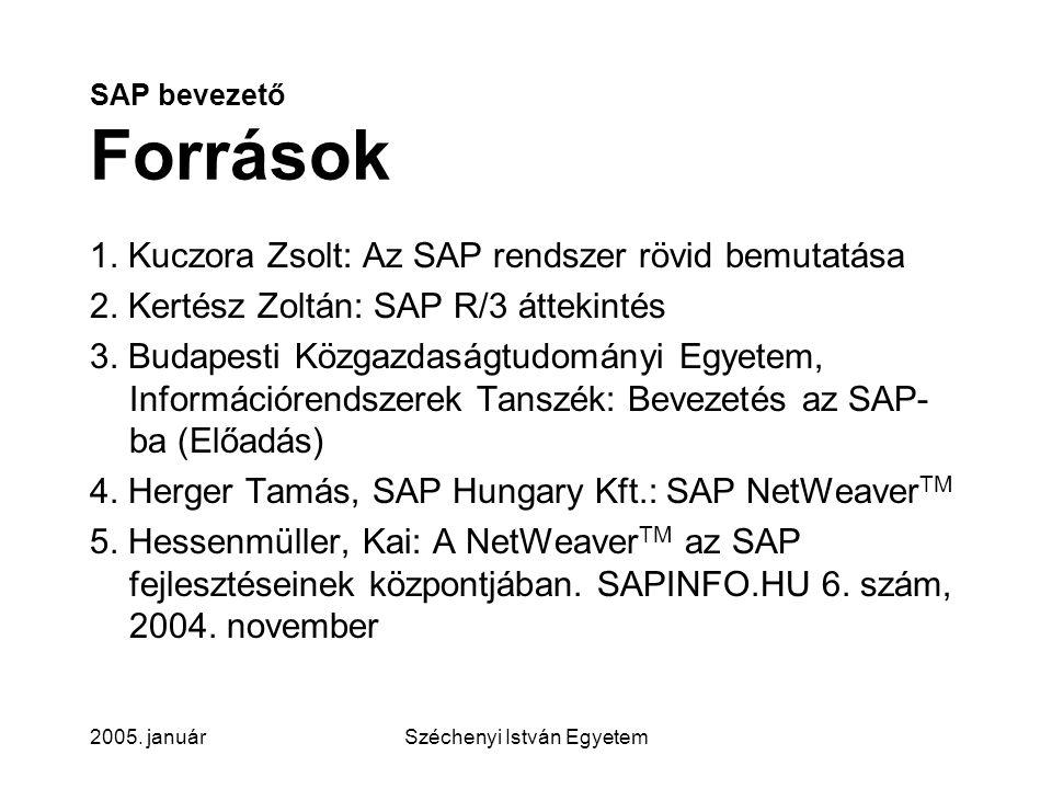 2005.januárSzéchenyi István Egyetem SAP bevezető Tartalom 1.
