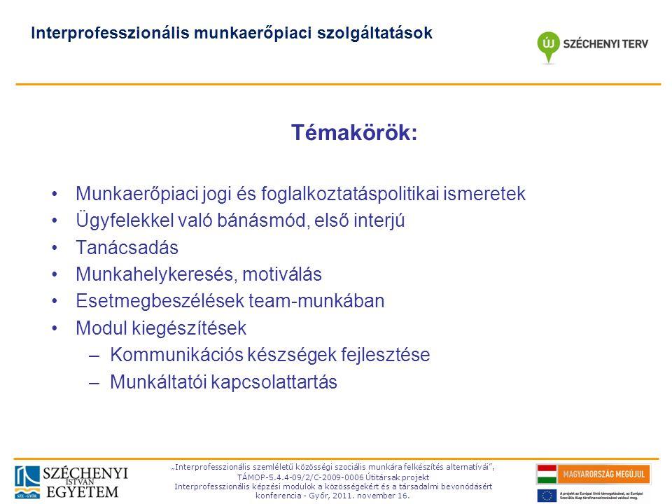 TÁMOP-5.4.4-09/2-C- 2009-0006 Témakörök: Munkaerőpiaci jogi és foglalkoztatáspolitikai ismeretek Ügyfelekkel való bánásmód, első interjú Tanácsadás Mu