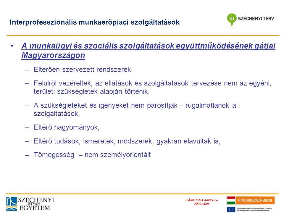 TÁMOP-5.4.4-09/2-C- 2009-0006 Interprofesszionális munkaerőpiaci szolgáltatások A munkaügyi és szociális szolgáltatások együttműködésének gátjai Magya