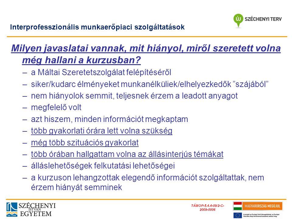 TÁMOP-5.4.4-09/2-C- 2009-0006 Milyen javaslatai vannak, mit hiányol, miről szeretett volna még hallani a kurzusban? –a Máltai Szeretetszolgálat felépí