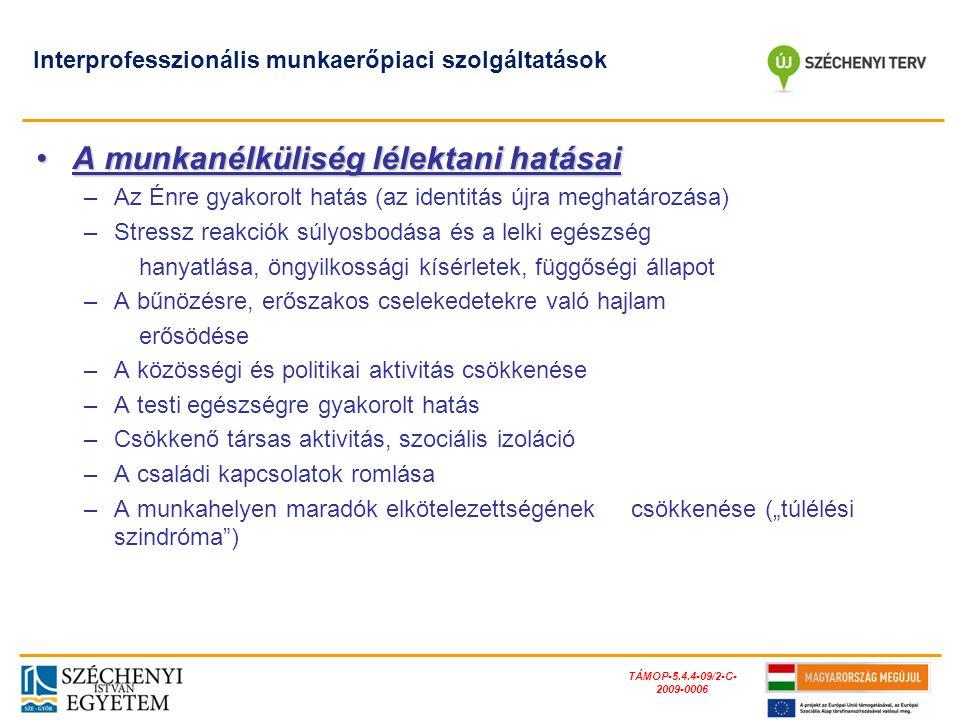 TÁMOP-5.4.4-09/2-C- 2009-0006 Interprofesszionális munkaerőpiaci szolgáltatások A munkanélküliség lélektani hatásaiA munkanélküliség lélektani hatásai