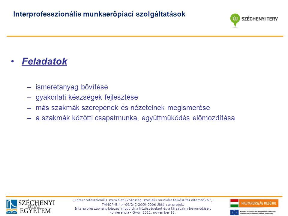 """TÁMOP-5.4.4-09/2-C- 2009-0006 """"Interprofesszionális szemléletű közösségi szociális munkára felkészítés alternatívái"""", TÁMOP-5.4.4-09/2/C-2009-0006 Úti"""