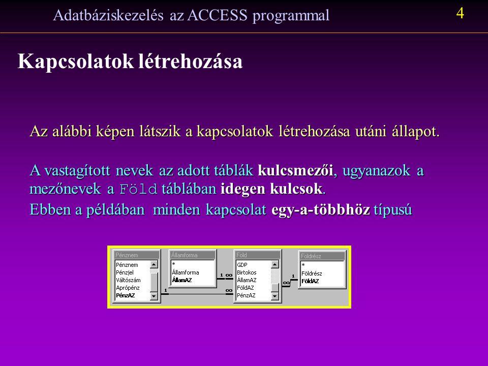 Adatbáziskezelés az ACCESS programmal 3 Kapcsolatok létrehozása A kapcsolatok definiálása vizuális eszközökkel (is) történhet: ejtsük a páronként azon