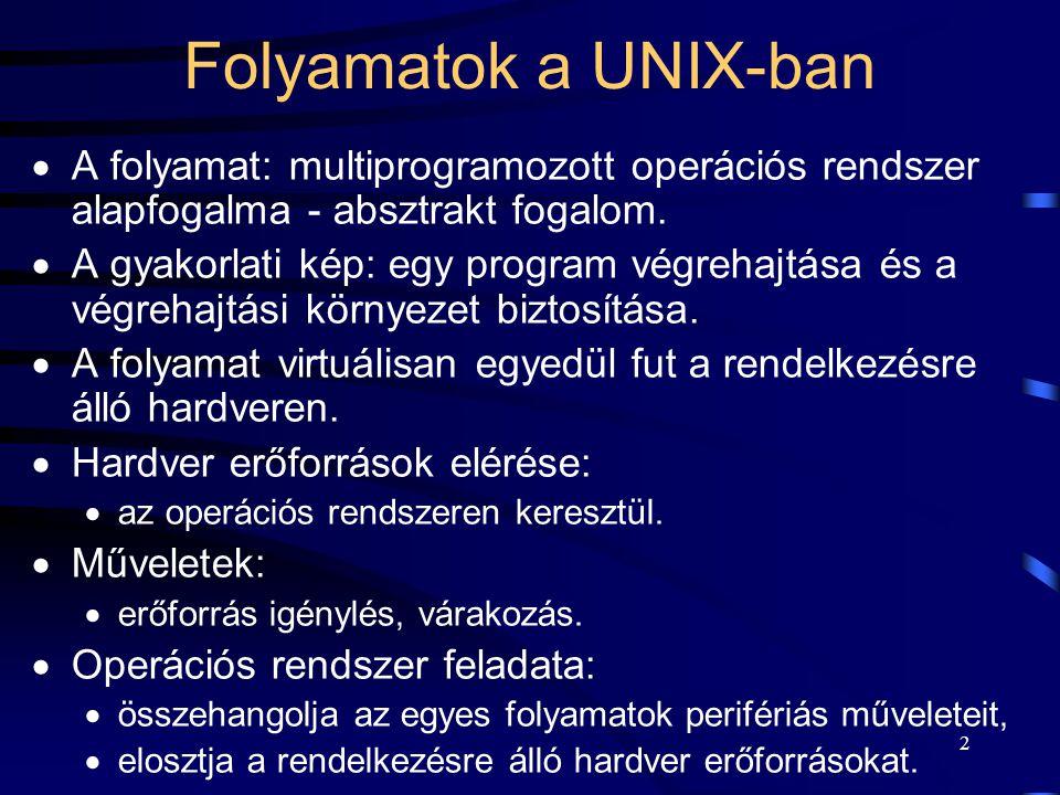 1 Operációs rendszerek Folyamatok kezelése a UNIX-ban