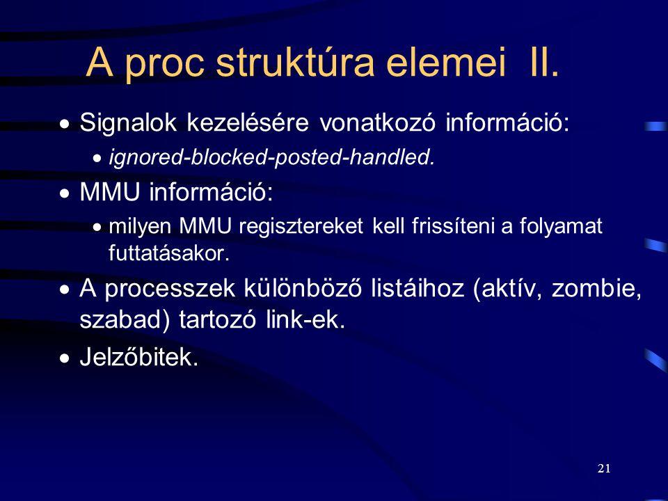 20 A proc struktúra elemei I.  Processz azonosító (PID).