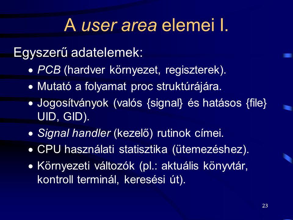22 A proc struktúra elemei III.  A PID alapján a hash táblában történő tároláshoz szükséges mutatók.  A processzek hierarchiájában elfoglalt helyre