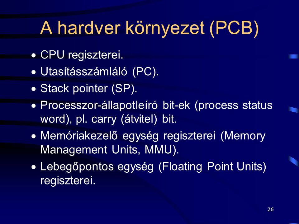 25 Összetett adatelemek  Kernel Stack:  verem tár,  kernel (privilégizált) módban futáskor,  (pl.: rendszerhívások, IT).