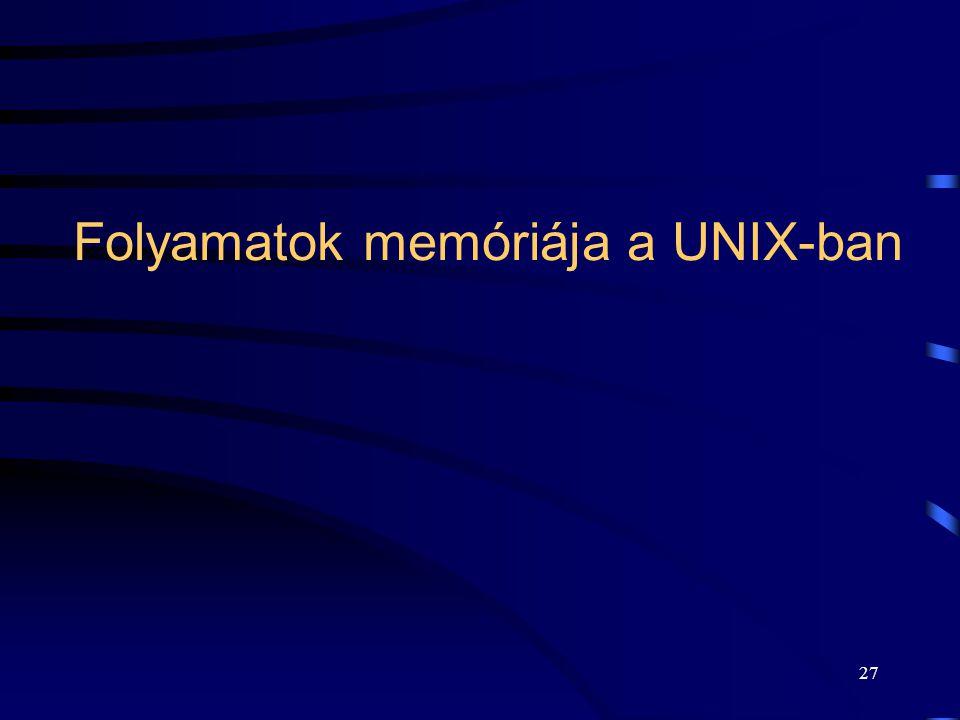 26 A hardver környezet (PCB)  CPU regiszterei.  Utasításszámláló (PC).