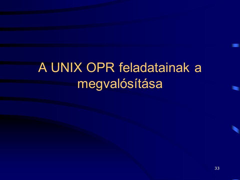 32 UNIX memória kezelés Logikai – fizikai címtranszformáció: –folyamat leíró adatokban: Region Table, Memory Management Unit.