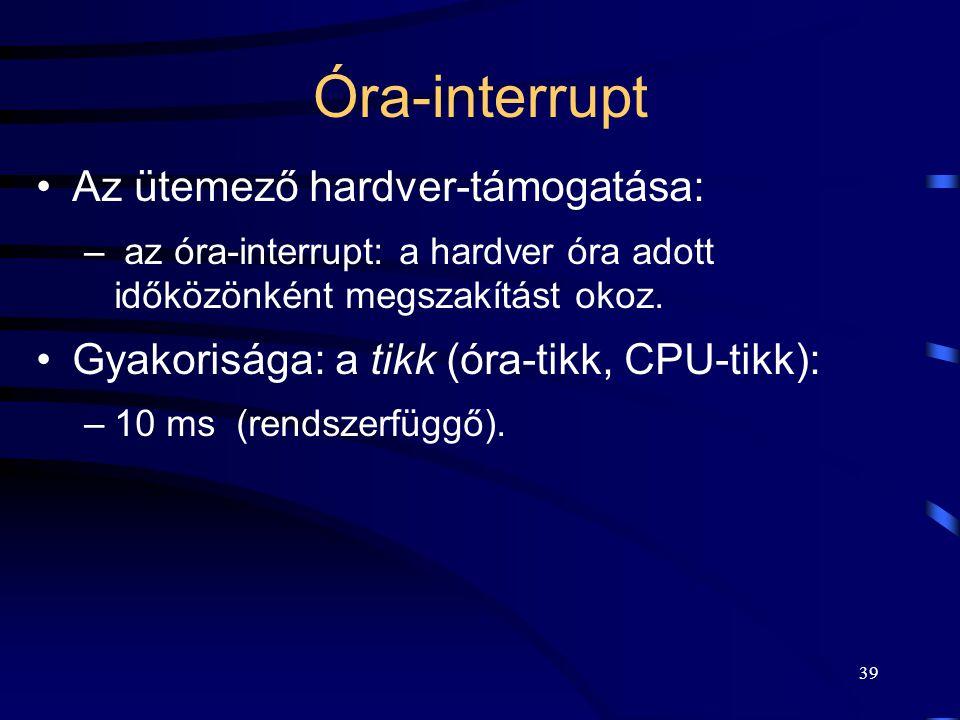38 Az interrupt rutin által végzett tipikus műveletek 1.