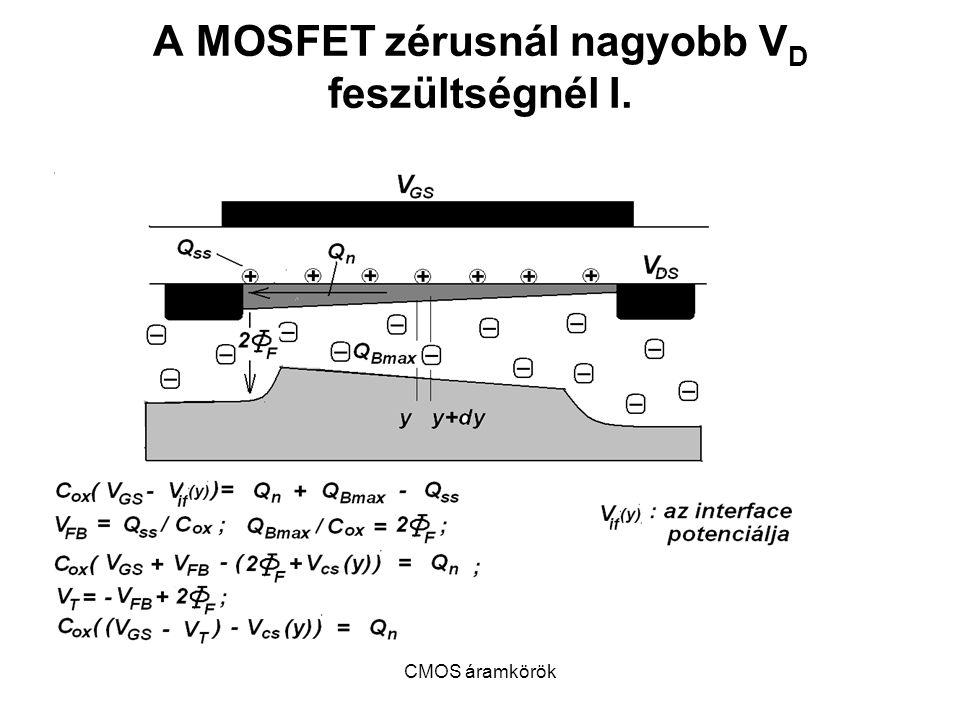 CMOS áramkörök A MOSFET zérusnál nagyobb V D feszültségnél I.