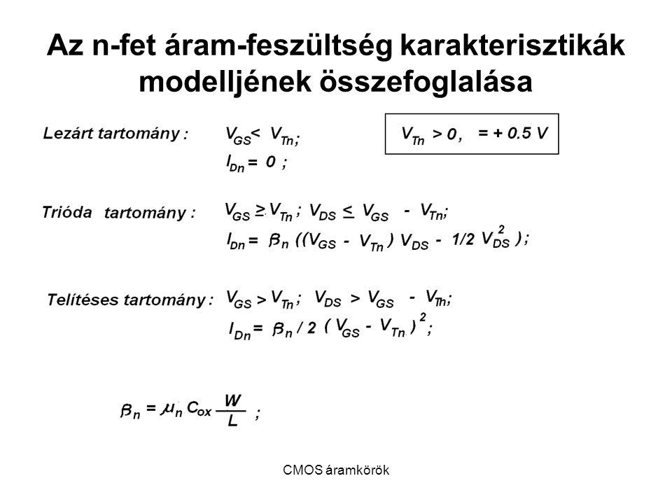 CMOS áramkörök Az n-fet áram-feszültség karakterisztikák modelljének összefoglalása