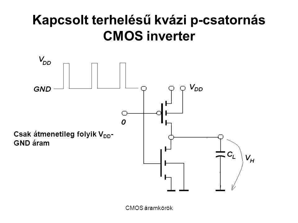 CMOS áramkörök Kapcsolt terhelésű kvázi p-csatornás CMOS inverter Csak átmenetileg folyik V DD - GND áram
