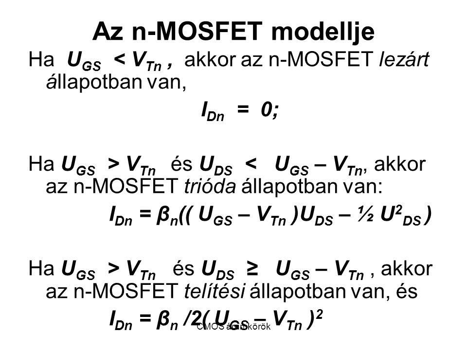 CMOS áramkörök Az n-MOSFET modellje Ha U GS < V Tn, akkor az n-MOSFET lezárt állapotban van, I Dn = 0; Ha U GS > V Tn és U DS < U GS – V Tn, akkor az