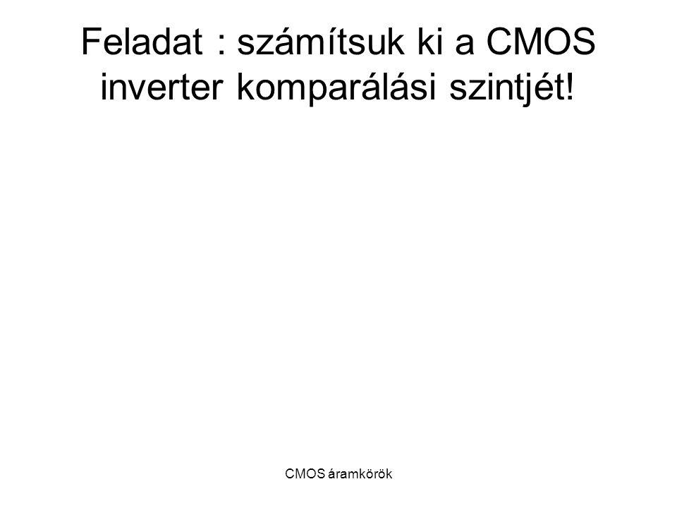 CMOS áramkörök Feladat : számítsuk ki a CMOS inverter komparálási szintjét!