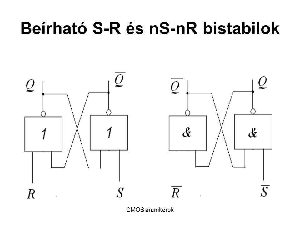 CMOS áramkörök Beírható S-R és nS-nR bistabilok