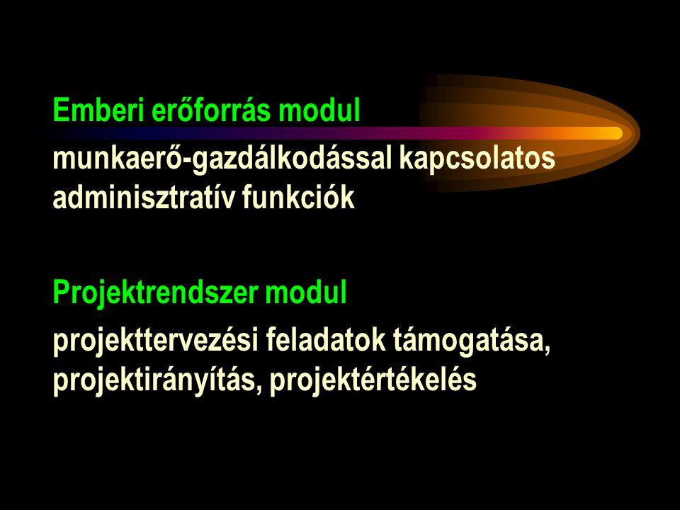 Emberi erőforrás modul munkaerő-gazdálkodással kapcsolatos adminisztratív funkciók Projektrendszer modul projekttervezési feladatok támogatása, projek