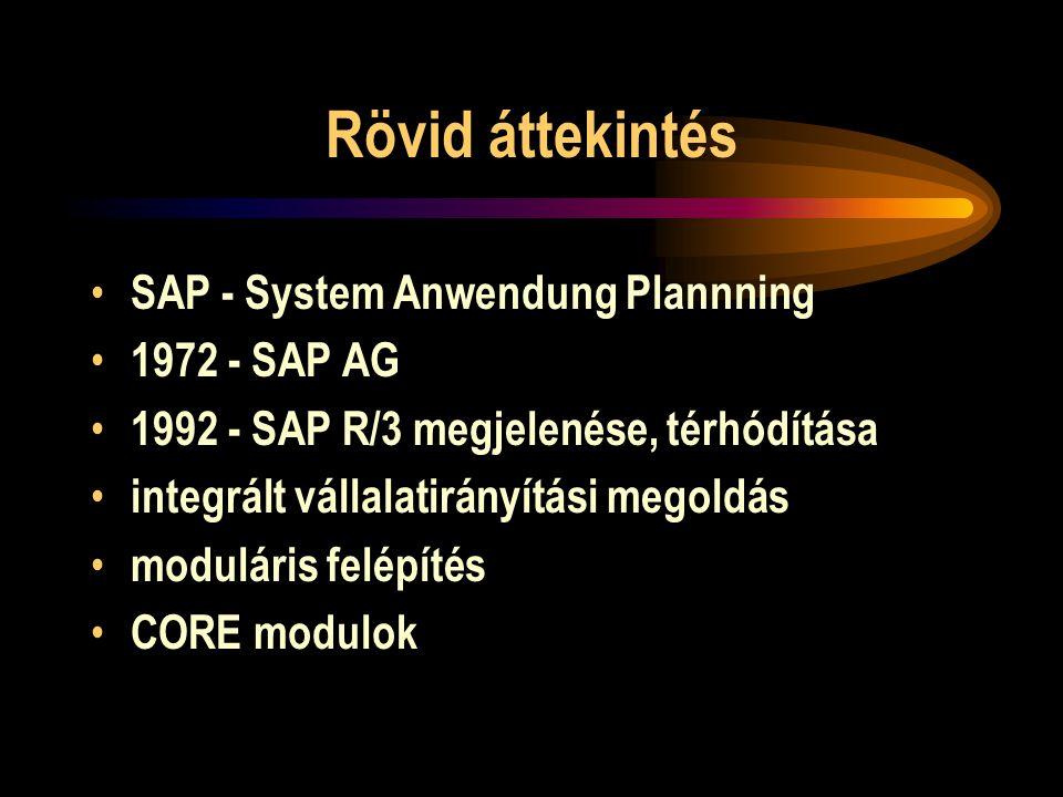 Rövid áttekintés SAP - System Anwendung Plannning 1972 - SAP AG 1992 - SAP R/3 megjelenése, térhódítása integrált vállalatirányítási megoldás modulári