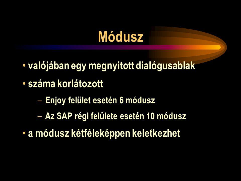 Módusz valójában egy megnyitott dialógusablak száma korlátozott – Enjoy felület esetén 6 módusz – Az SAP régi felülete esetén 10 módusz a módusz kétfé