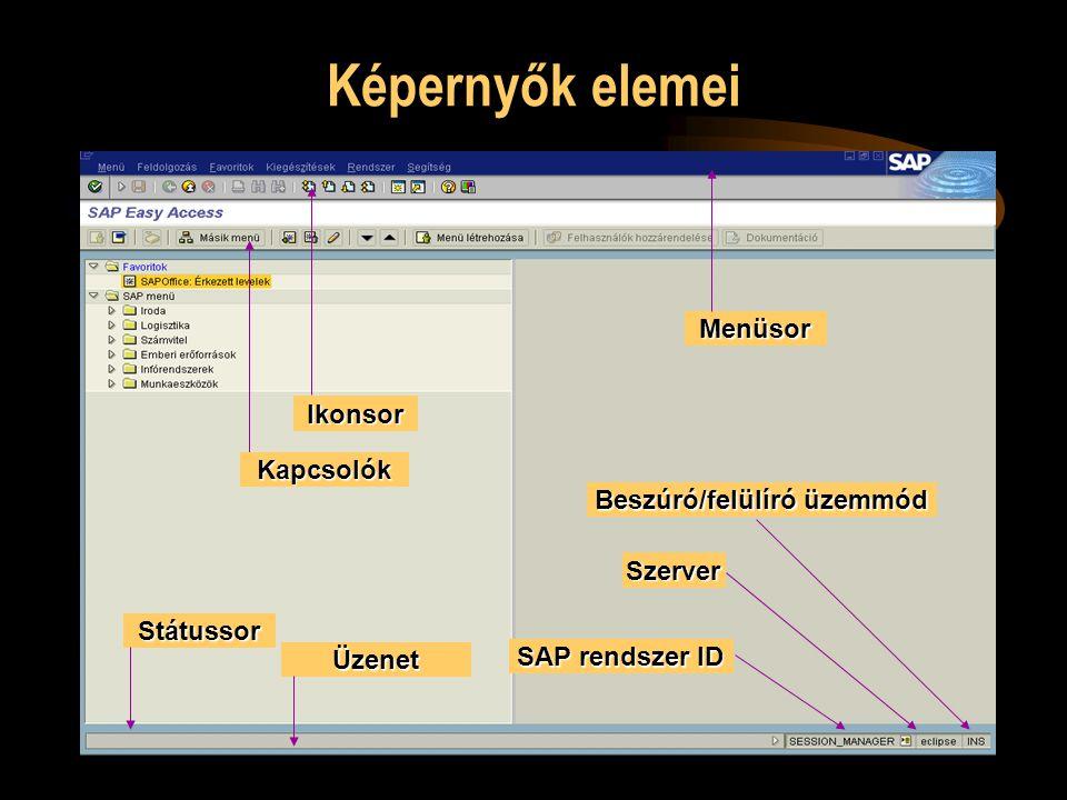 Képernyők elemei Státussor Kapcsolók Ikonsor Menüsor Üzenet SAP rendszer ID Szerver Beszúró/felülíró üzemmód