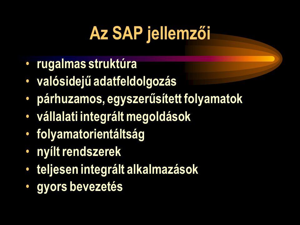 Az SAP jellemzői rugalmas struktúra valósidejű adatfeldolgozás párhuzamos, egyszerűsített folyamatok vállalati integrált megoldások folyamatorientálts
