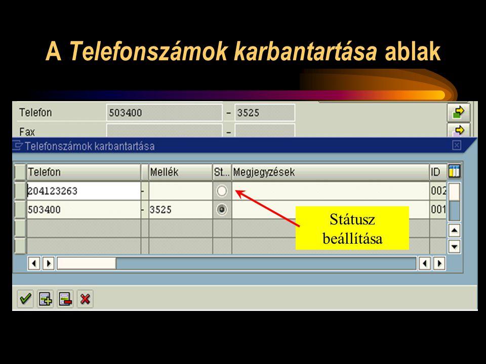 A Telefonszámok karbantartása ablak Státusz beállítása