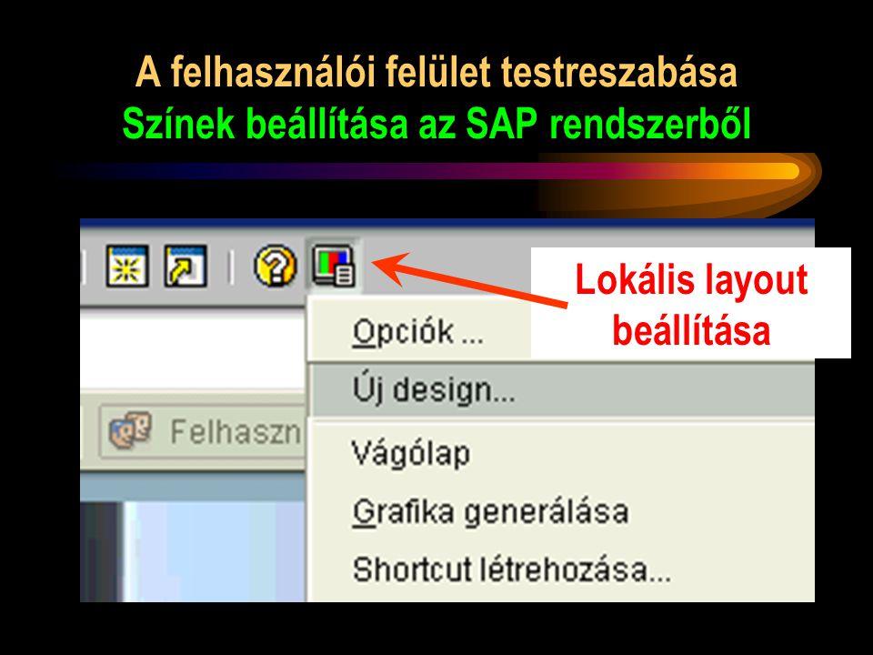 A felhasználói felület testreszabása Színek beállítása az SAP rendszerből Lokális layout beállítása