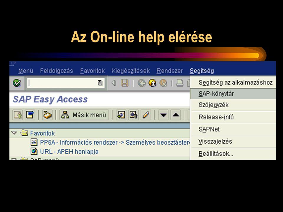 Az On-line help elérése