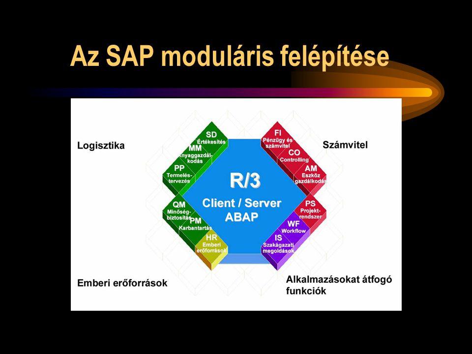 Az SAP főbb moduljai Számviteli, pénzügyi modulok Logisztikai modulok Emberi erőforrás modul Projektrendszer modul Munkafolyamat modul Szakmai megoldások modul