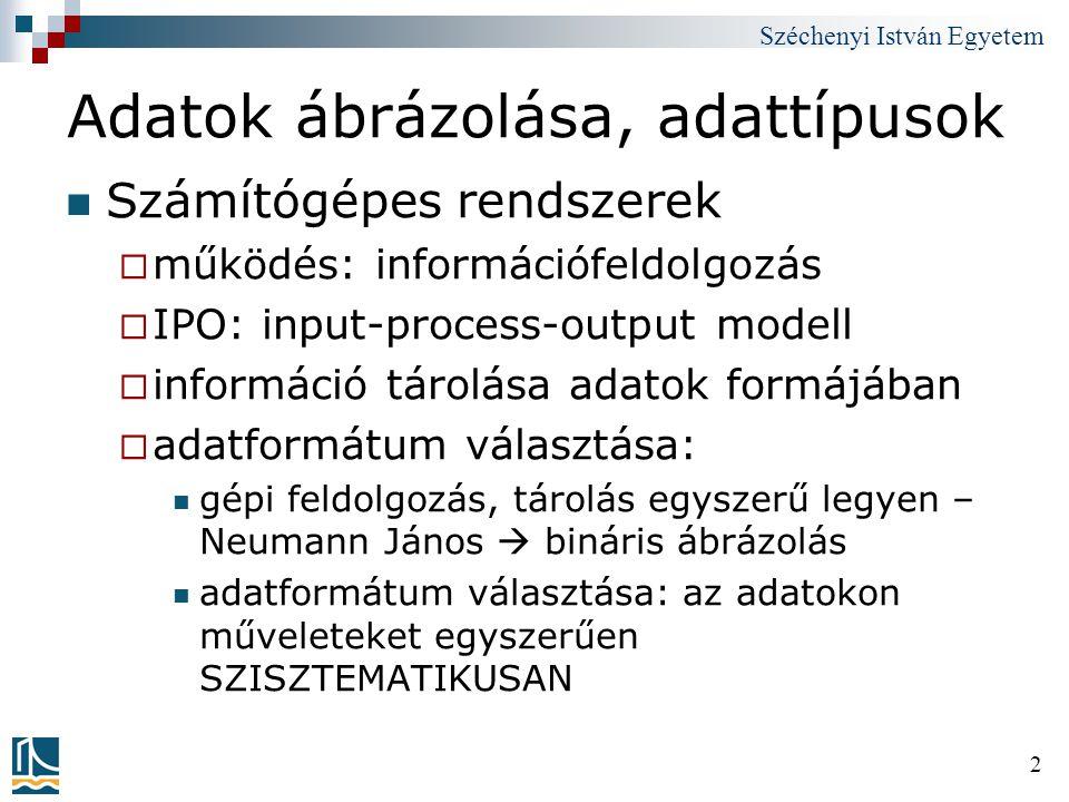 Széchenyi István Egyetem 33 Számoljuk ki két szám különbségének abszolút értékét (kimenet pozitív!) 00IN901 01STO 10310 02IN901 03STO 11311 04SUB 10210 05BRP 08808;teszt 06LDA 10510;ha negatív, fordított sorrendben kell.
