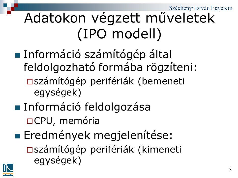 Széchenyi István Egyetem 34 Utasítás-végrehajtási ciklus Az utasítások végrehajtása két lépésre osztható:  Fetch (~kikeresés): Kisember kideríti, hogy milyen utasítást hajtson végre.