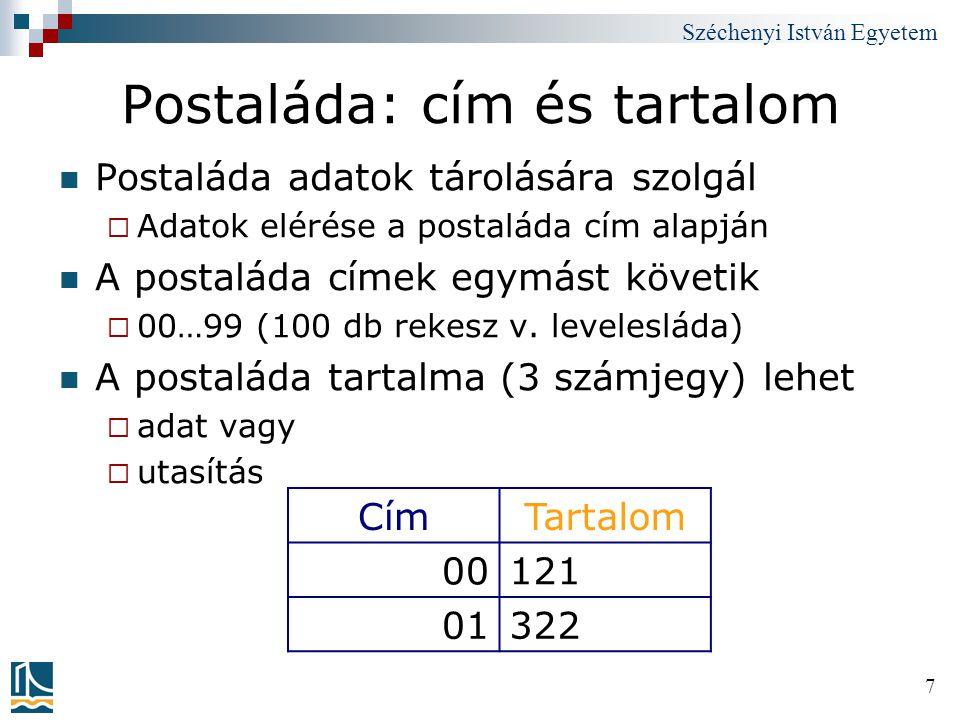Széchenyi István Egyetem 28 Program 2 szám összeadására: Mnemonic-okat használva PostaládaMnemonicUtasítás leírása 00IN;1.