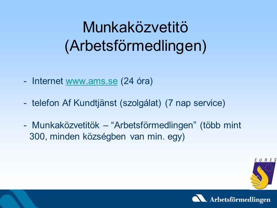 """Munkaközvetitö (Arbetsförmedlingen) - Internet www.ams.se (24 óra)www.ams.se - telefon Af Kundtjänst (szolgálat) (7 nap service) - Munkaközvetitök – """""""