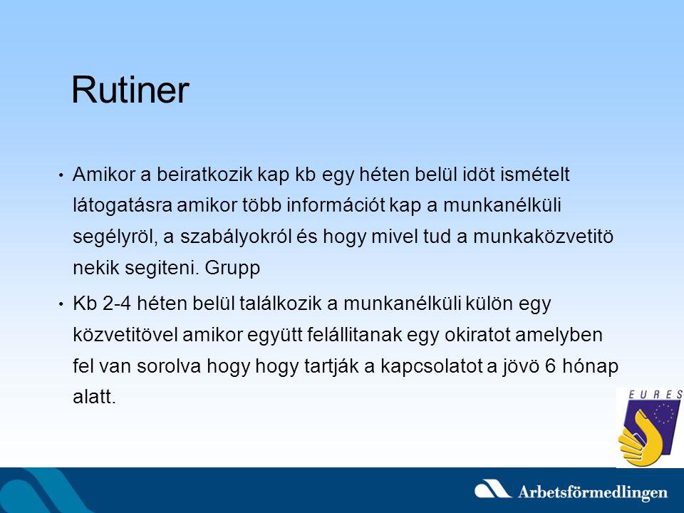 Rutiner Amikor a beiratkozik kap kb egy héten belül idöt ismételt látogatásra amikor több információt kap a munkanélküli segélyröl, a szabályokról és